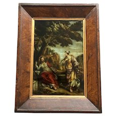 Antique Georgian Reverse Glass Painted Print, Christ and The Samaritan Woman, Woman at the Well C 1800