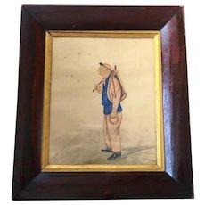 Antique British School Folk Art Portrait, by Edward P Holt of Old Malabar Irish Juggler Showman Circa 1870