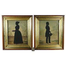 STUNNING 19th Century Cut Silhouette Portrait Pair, Husband And Wife Circa 1840 Folk Art