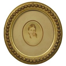 Antique Georgian Portrait Miniature of a Lady On Card English Circa 1810