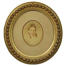 Antique Georgian Portrait Miniature of a Lady On Card English Circa 1810