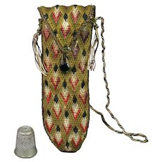 19th Century Flame Stitch Case Etui Bargello Needlework Green Vauxhall Glass Button Circa 1830