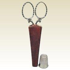 19th Century Cased Cut Steel Sewing Scissors Original Leather Scabbard Circa 1840