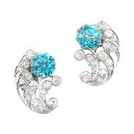 Vintage Art Deco Diamond Blue Zircon Platinum Earrings