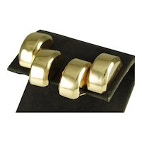 Bold Vintage Forties Retro Earring Clips in 14k Yellow Gold