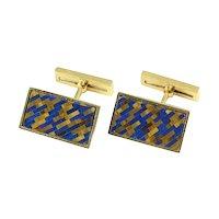 Vintage Chaumet French 18k Gold Lapis Tigers Eye Inlaid Mosaic Cufflinks