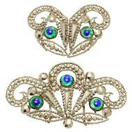 Antique Victorian Cut Steel and Peacock Glass Buckle Sash Set