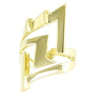 Dramatic 18k Gold Lightning Bolt Ring