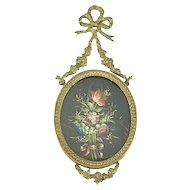 Antique Enamel in a French Bronze Frame