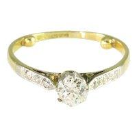Antique Victorian Mine Cut Diamond 18k Yellow Gold Platinum Solitaire Engagement Ring