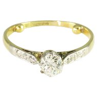 Antique Victorian Mine Cut Diamond 18k Yellow Gold Platinum Solitaire Engagement Ring