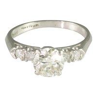 Vintage Thirties Transitional Cut Diamond Platinum Solitaire Engagement Ring - Video
