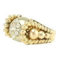 Whimsical Retro Diamond Rose and White 18k Gold Ring