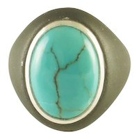 Vintage Marsh and Co Iron Turquoise and Sterling Silver Ring