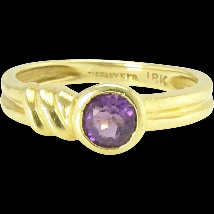 cfec6e198 Tiffany Estate Amethyst 18k Gold Solitaire Stacking Band Ring SOLD | Ruby  Lane
