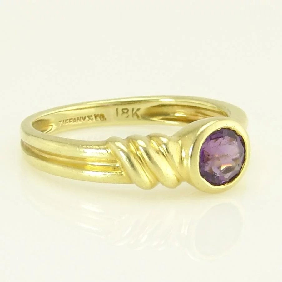 618bf3517 Tiffany Estate Amethyst 18k Gold Solitaire Stacking Band Ring. Click to  expand