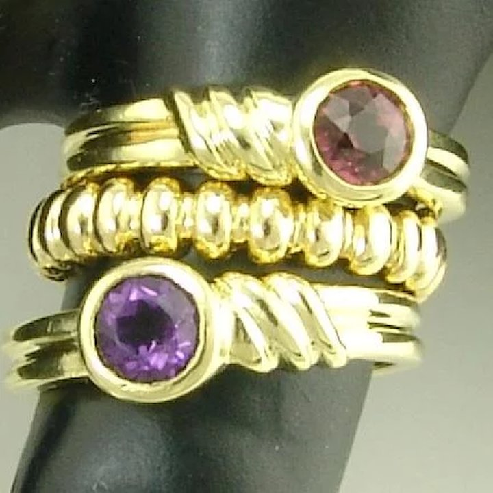 94896dc77 Tiffany Estate Amethyst 18k Gold Solitaire Stacking Band Ring SOLD ...