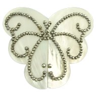 Fabulous Mother-of-Pearl and Cut Steel Figural Butterfly Belt Buckle Pendant