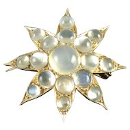 Estate Victorian Style Figural Moonstone 14k Gold Star Pendant Brooch Pin