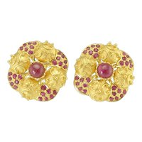 Bold Vintage 22k Gold Ruby Etruscan Style Earrings