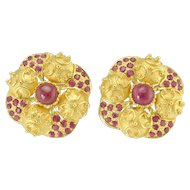 Bold Vintage 22k Gold Ruby Etruscan Style Earrings