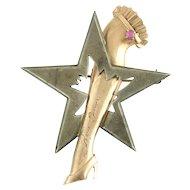 Vintage Retro Figural 14k Rose Gold Sterling Silver Ruby Star and Garter Broadway Burlesque Memorabilia Brooch Michael Todd