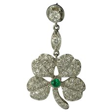 Vintage Figural Diamond Emerald Platinum Shamrock Four Leaf Clover Pendant Earrings - Video