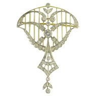 Lyrical Vintage Edwardian Style Pendant Brooch in Diamonds Platinum 18K Yellow Gold - Video