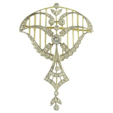 Lyrical Vintage Edwardian Style Pendant Brooch in Diamonds Platinum 18K Yellow Gold - Video