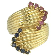 Stylish Retro Ruby & Sapphire By-Pass Ring in 14k