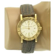 Bulgari 18k Gold Estate Designer Signed Watch