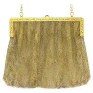 Fine Edwardian 14k Gold Diamond Sapphire Mesh Evening Bag Purse
