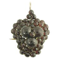 Large Antique Victorian Rose Cut and Cabochon Garnet Three Leaf Clover Pendant