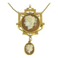 Wonderful Antique Victorian Double Shell Cameo and Pearl Necklace in 14k Gold