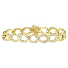 Attractive Estate Diamond Link Bracelet in 18k Gold