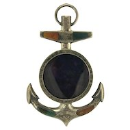 Choice Miniature Victorian Scottish Agate Anchor Frame in Sterling Silver