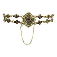 Antique Victorian Rose Cut Garnet Flower Garland Bracelet - 14k Gold Clasp