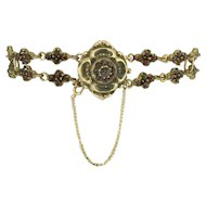 Antique Victorian Rose Cut Garnet Flower Garland Bracelet - 14k Gold Clasp