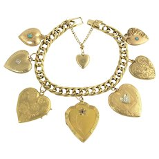 Romantic Antique Vintage Gold Heart Locket and Puffy Charm Bracelet