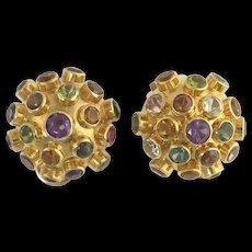 H Stern Mid-Century Multi-Gemstone Sputnik Clip Earrings in 18k