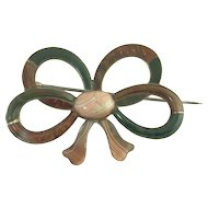 Unusual Victorian Scottish Agate Bow Brooch in Sterling Silver