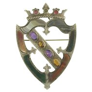 Impressive Victorian Signed Scottish Agate Gem-Set Luckenbooth Shield Brooch in Sterling Silver