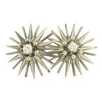 Fun Modernist Diamond Earrings in 14k White Gold