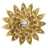 Jazzy Mid-Century Diamond and Gold Petal Clip-Brooch in 14k