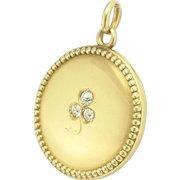Antique Victorian Diamond Three Leaf Clover Shamrock Locket Pendant in 14k Gold
