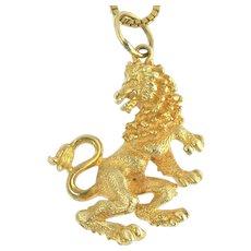 Spunky Vintage Lion Passant Pendant in 14k Gold