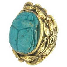 Impressive Arts and Crafts Style Faience Scarab Ring in 14k