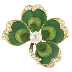 Charming Krementz Art Nouveau Diamond and Enamel Clover Pin Pendant in 14k Gold