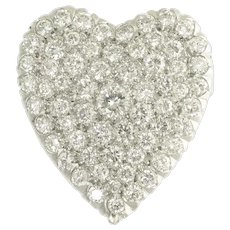 Vintage Diamond and Platinum Heart Pendant Brooch - On Layaway