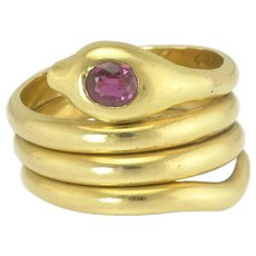 Vintage 18k Gold and Ruby Snake or Serpent Ring